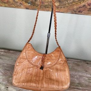 Eel skin 70s vintage shoulder bag braided large